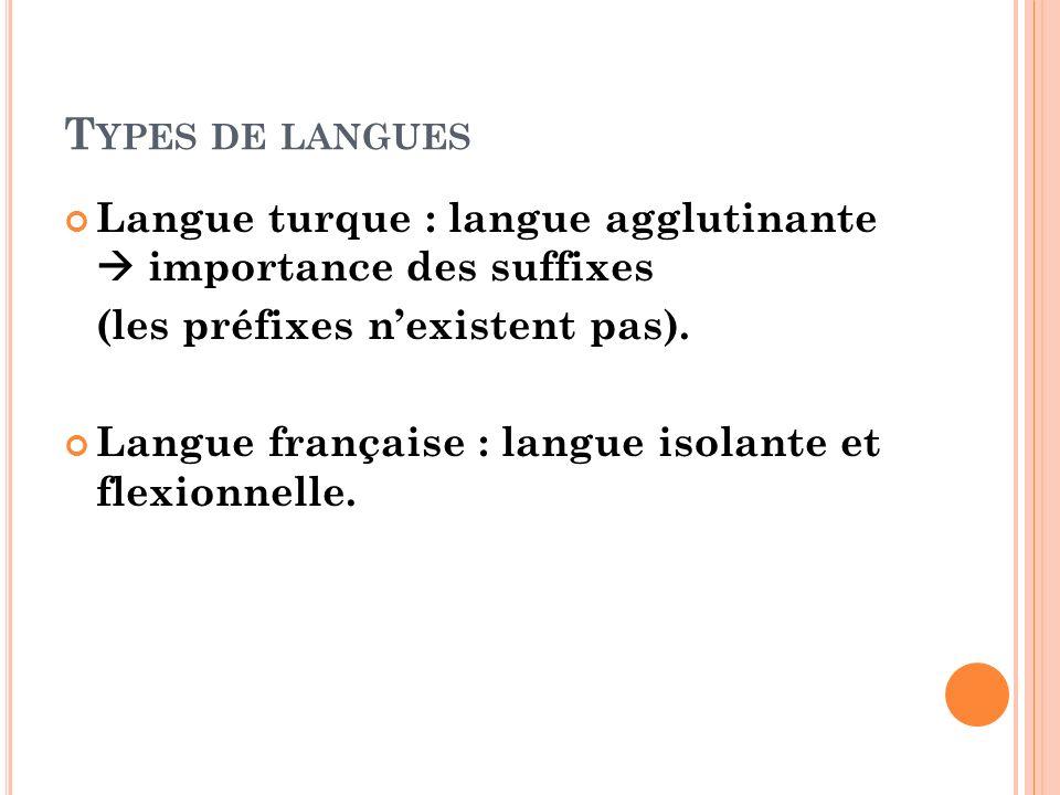 Types de langues Langue turque : langue agglutinante  importance des suffixes. (les préfixes n'existent pas).