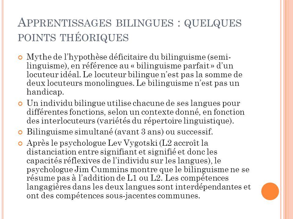Apprentissages bilingues : quelques points théoriques