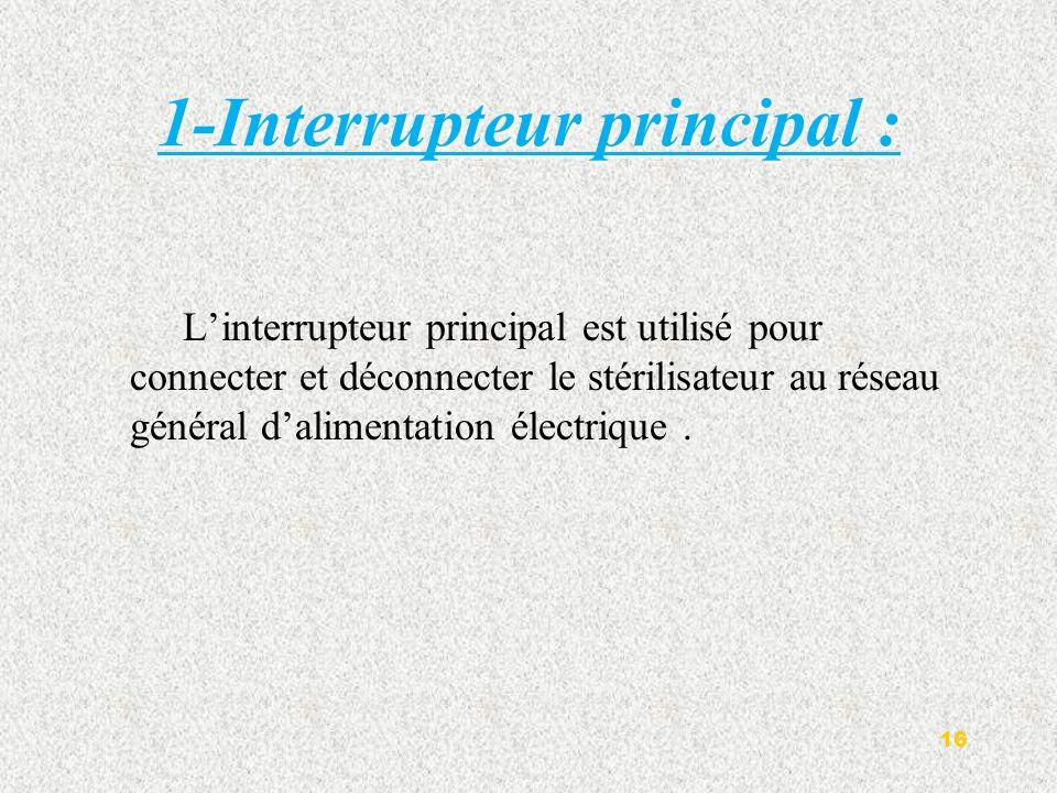 1-Interrupteur principal :