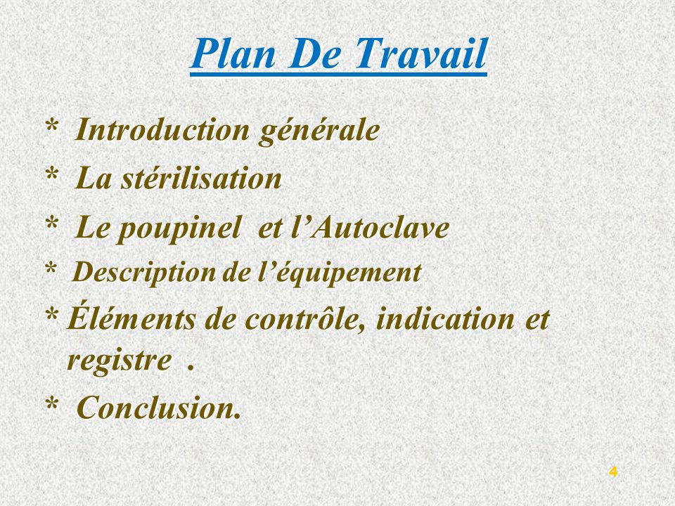 Plan De Travail * Introduction générale * La stérilisation