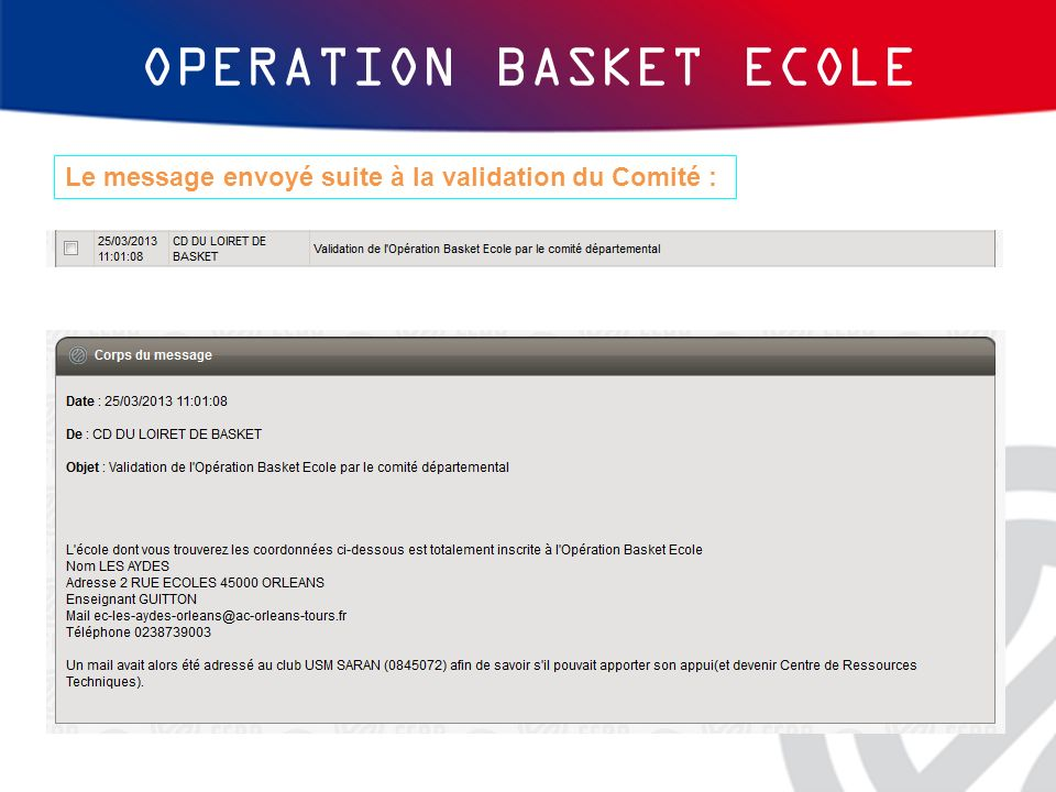 OPERATION BASKET ECOLE