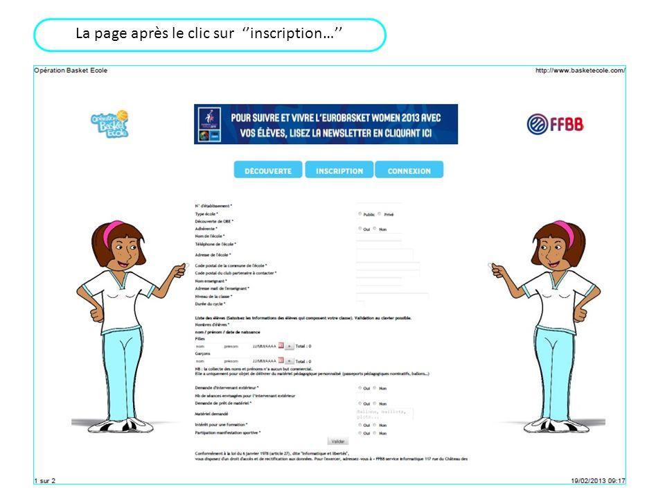 La page après le clic sur ''inscription…''