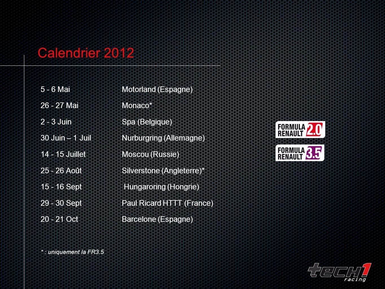Calendrier 2012 5 - 6 Mai Motorland (Espagne) 26 - 27 Mai Monaco*