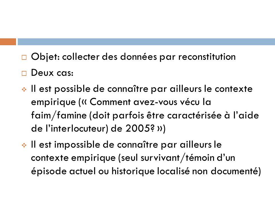 Objet: collecter des données par reconstitution