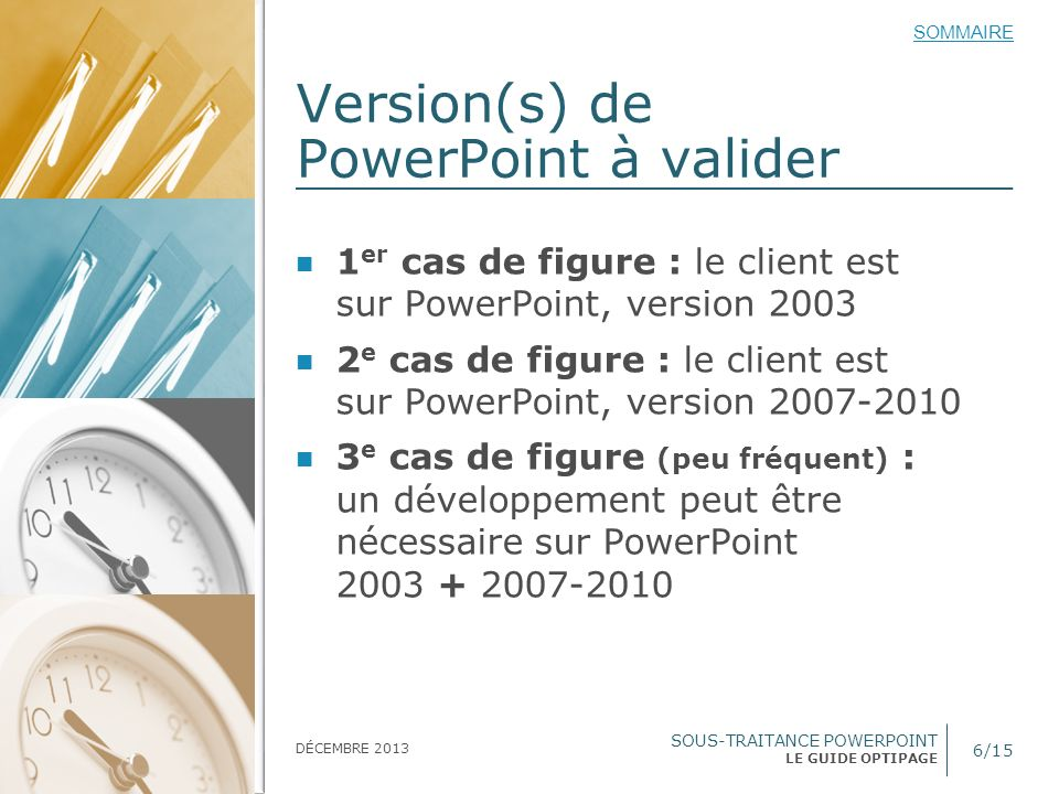 Version(s) de PowerPoint à valider