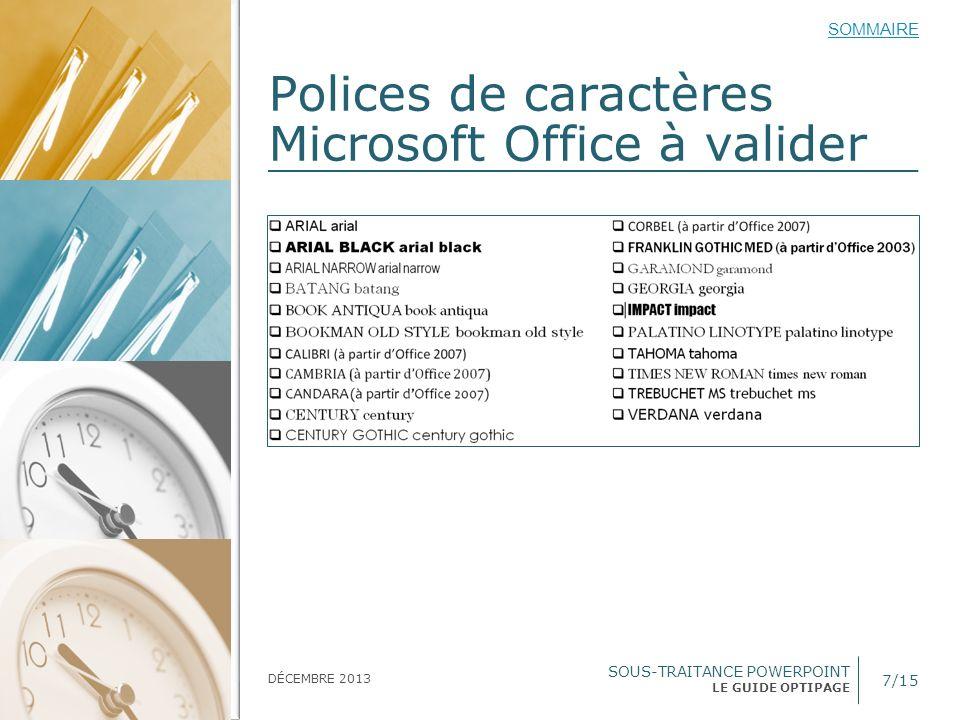 Polices de caractères Microsoft Office à valider