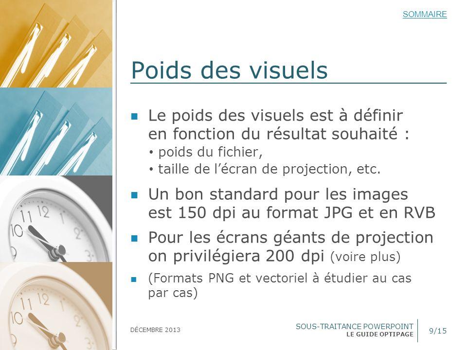 Poids des visuels Le poids des visuels est à définir en fonction du résultat souhaité : poids du fichier,