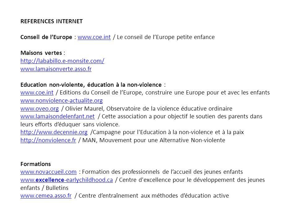 REFERENCES INTERNET Conseil de l'Europe : www.coe.int / Le conseil de l'Europe petite enfance. Maisons vertes :