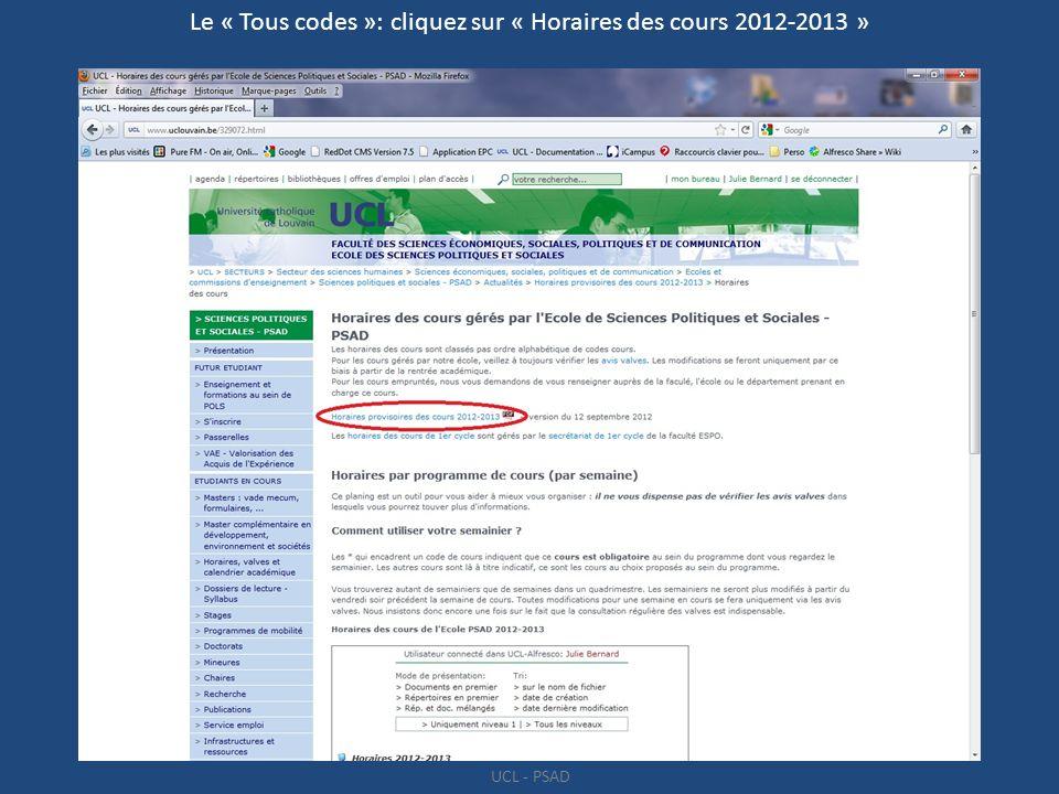 Le « Tous codes »: cliquez sur « Horaires des cours 2012-2013 »