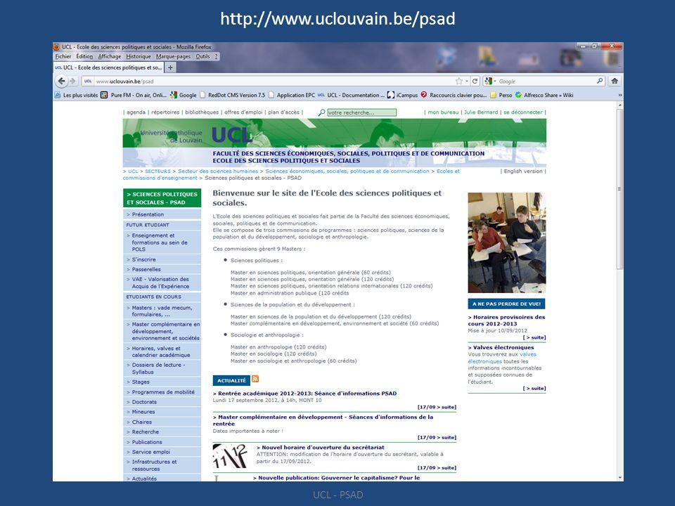 http://www.uclouvain.be/psad UCL - PSAD