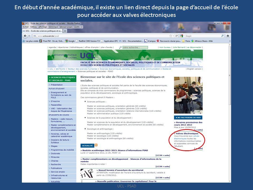 En début d'année académique, il existe un lien direct depuis la page d'accueil de l'école pour accéder aux valves électroniques