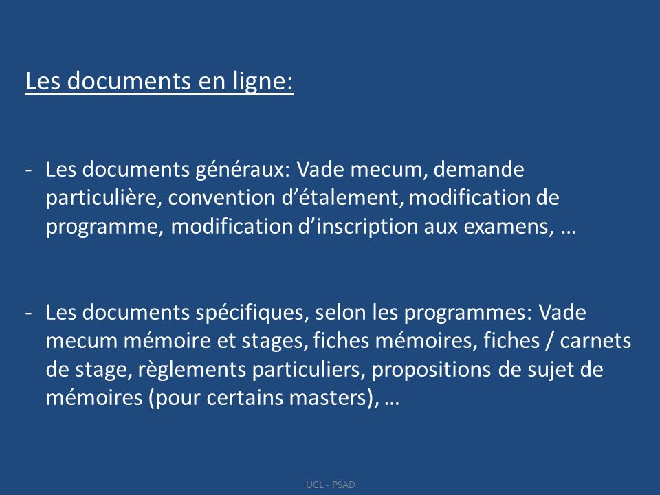 Les documents en ligne:
