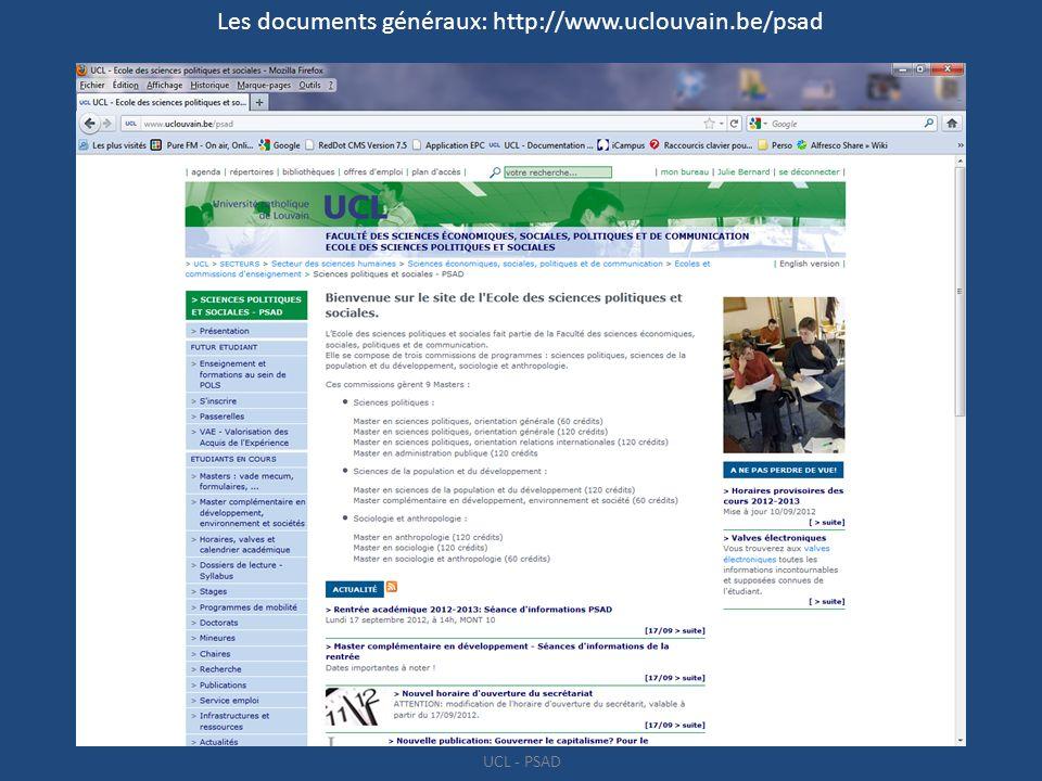 Les documents généraux: http://www.uclouvain.be/psad