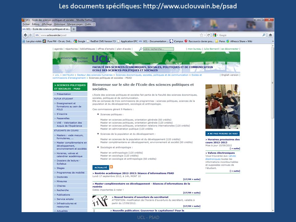 Les documents spécifiques: http://www.uclouvain.be/psad