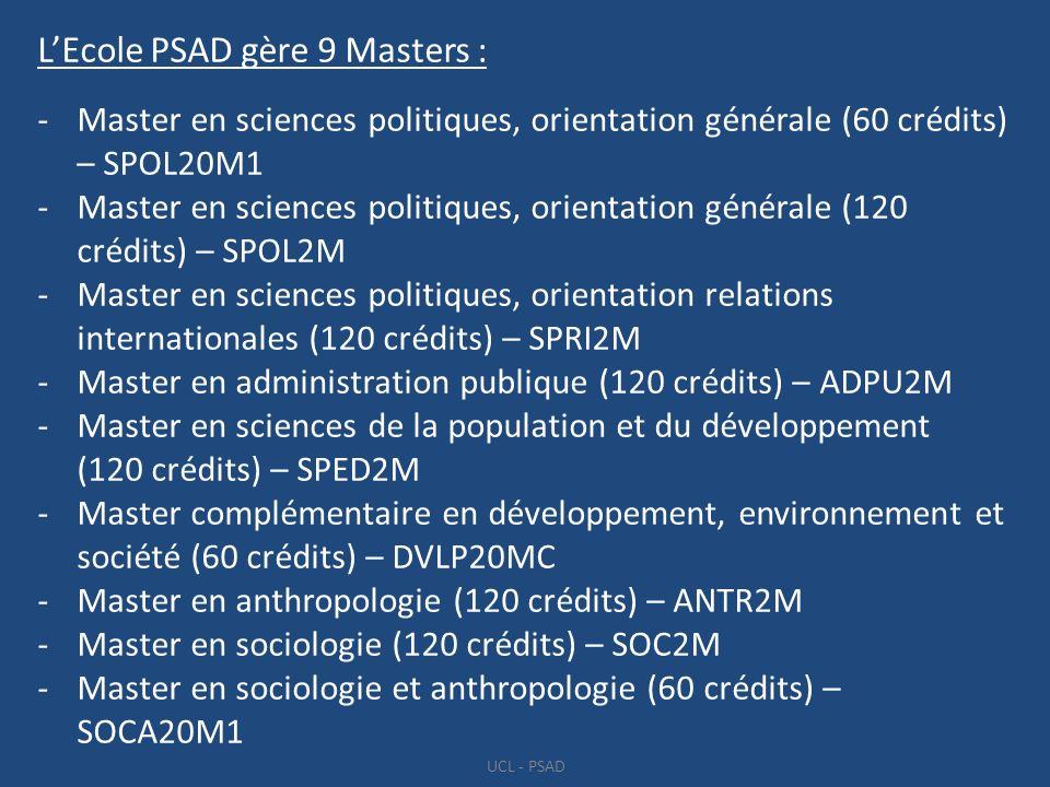 L'Ecole PSAD gère 9 Masters :