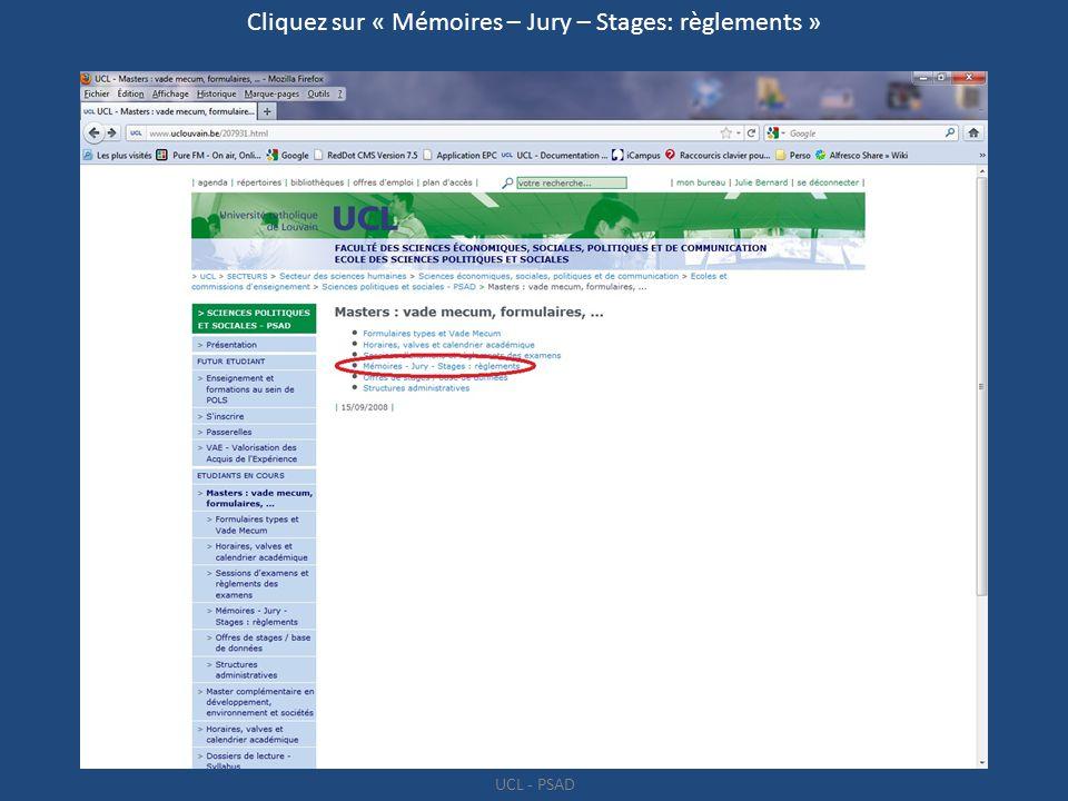 Cliquez sur « Mémoires – Jury – Stages: règlements »