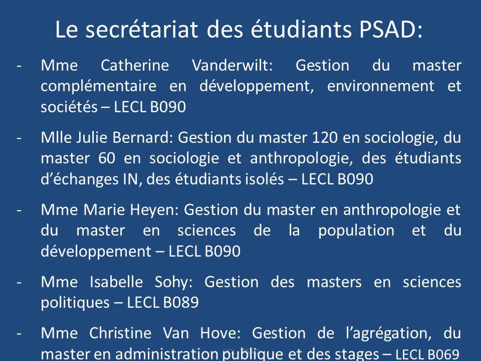 Le secrétariat des étudiants PSAD: