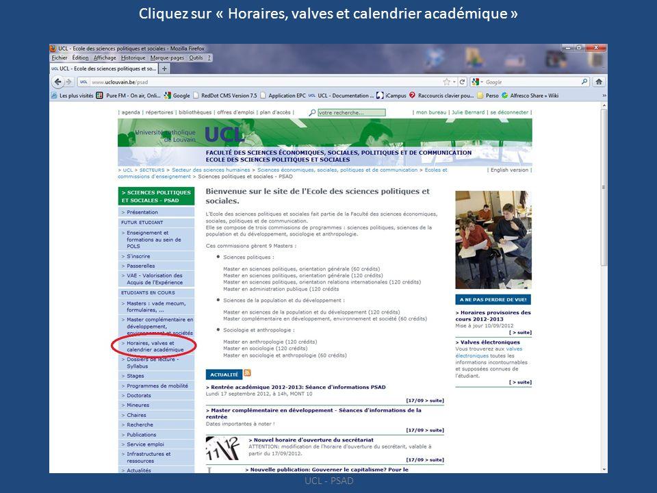 Cliquez sur « Horaires, valves et calendrier académique »