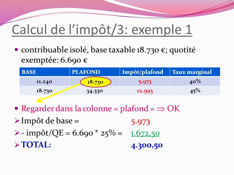 Calcul de l'impôt/3: exemple 1