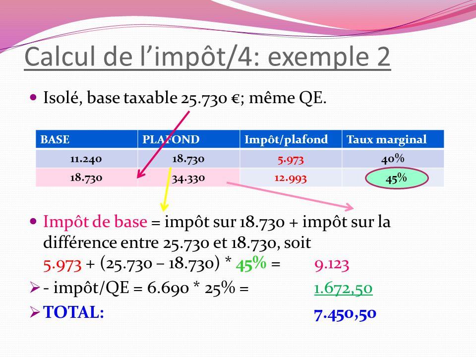 Calcul de l'impôt/4: exemple 2