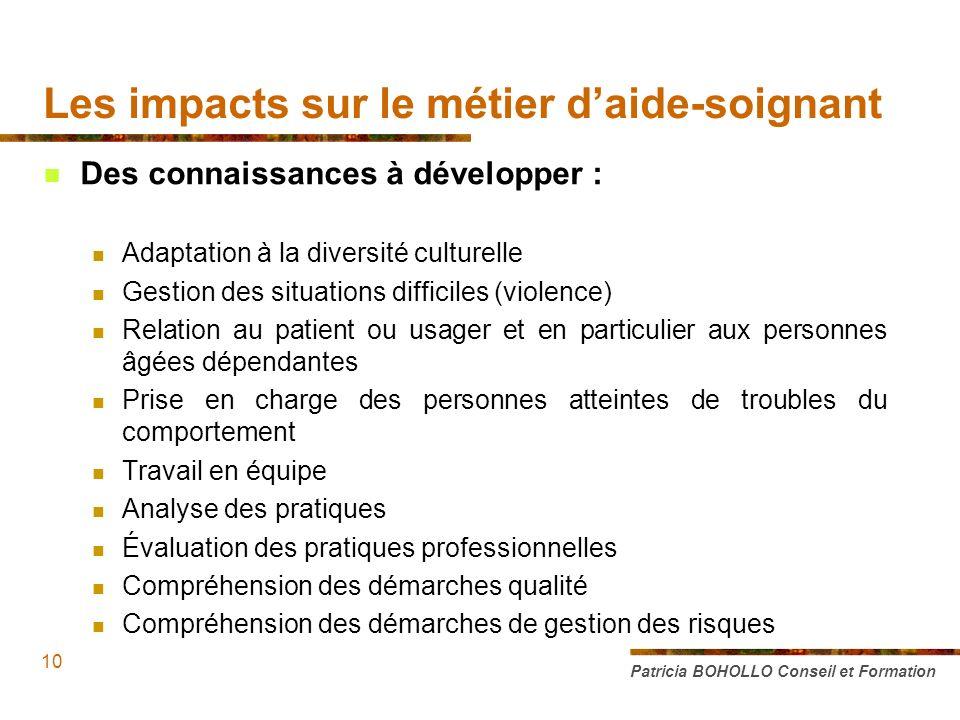 Les impacts sur le métier d'aide-soignant