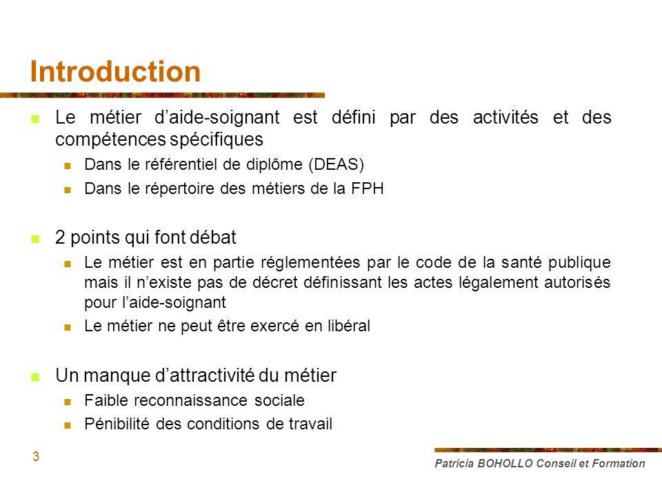 Introduction Le métier d'aide-soignant est défini par des activités et des compétences spécifiques.