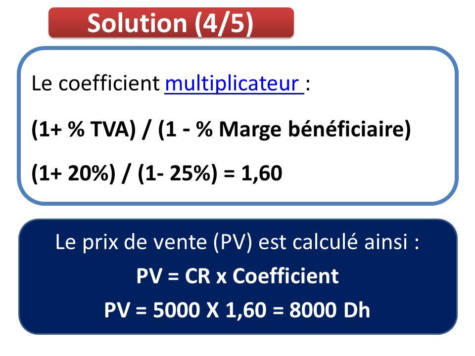 Le prix de vente (PV) est calculé ainsi :
