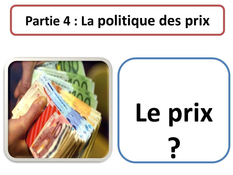 Partie 4 : La politique des prix