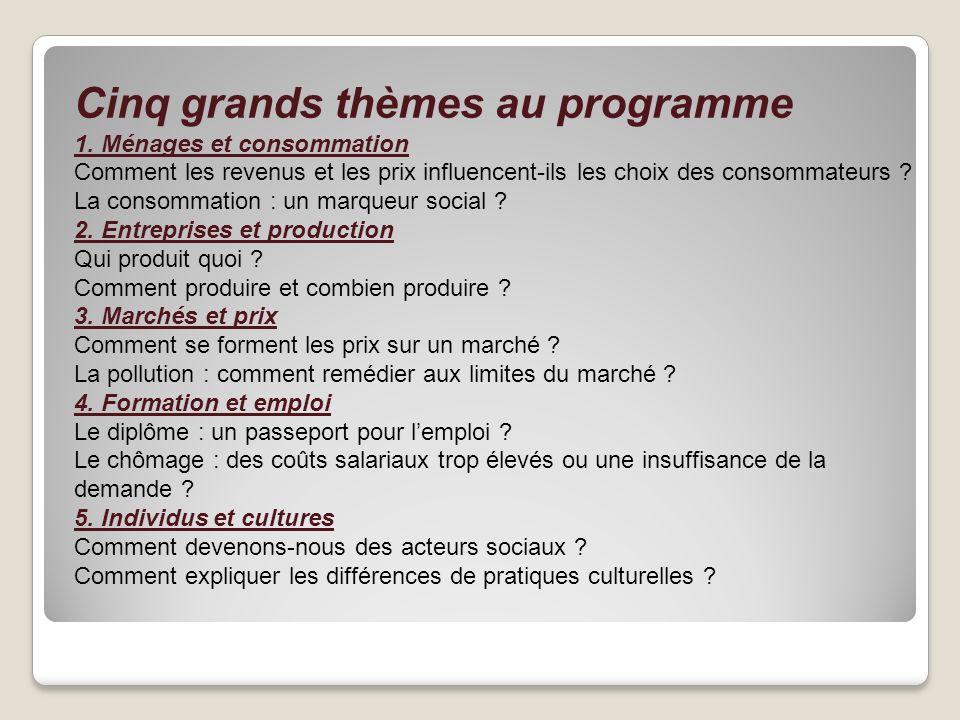 Cinq grands thèmes au programme