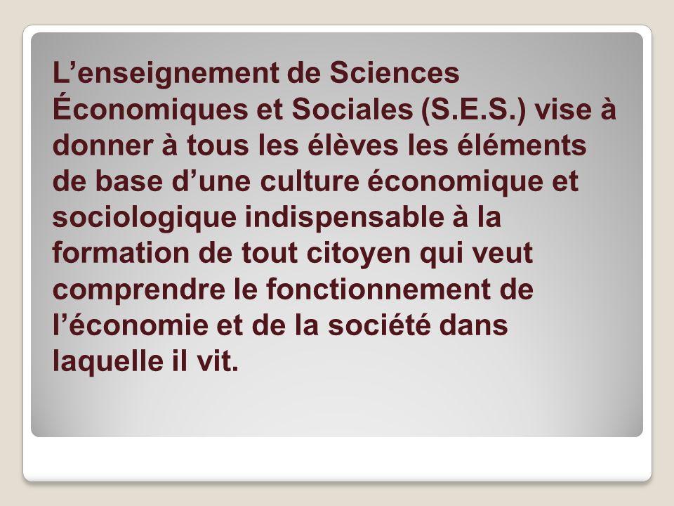 L'enseignement de Sciences Économiques et Sociales (S. E. S