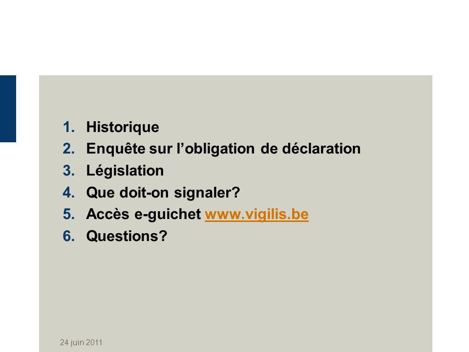 Enquête sur l'obligation de déclaration Législation