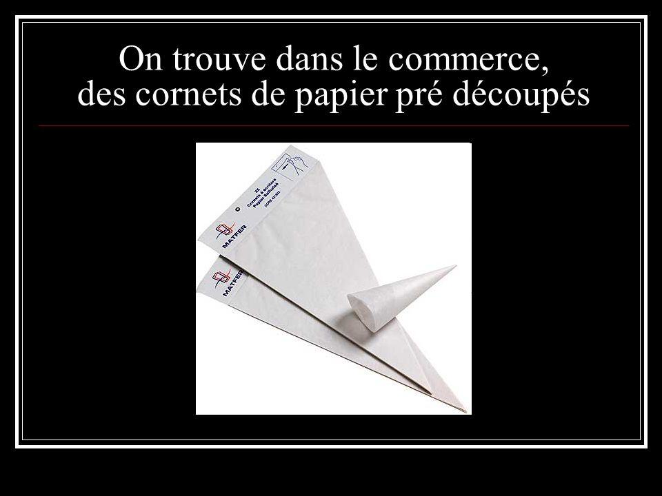 On trouve dans le commerce, des cornets de papier pré découpés