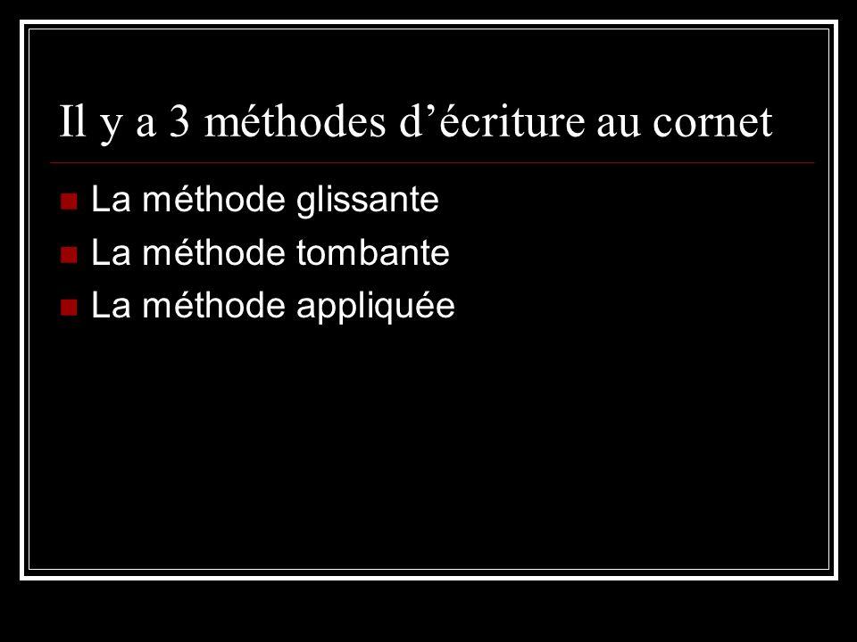 Il y a 3 méthodes d'écriture au cornet