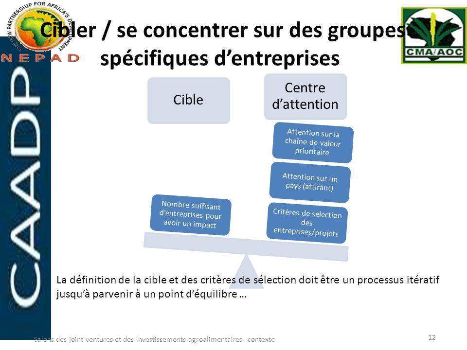 Cibler / se concentrer sur des groupes spécifiques d'entreprises