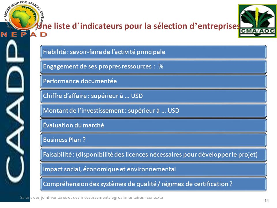 Une liste d'indicateurs pour la sélection d'entreprises