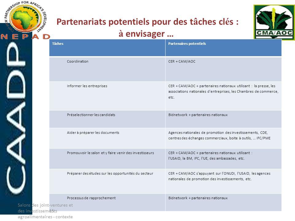 Partenariats potentiels pour des tâches clés : à envisager …