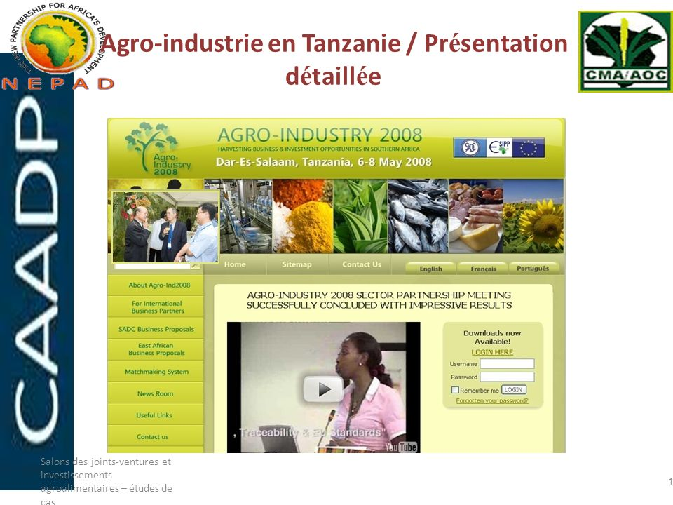 Agro-industrie en Tanzanie / Présentation détaillée