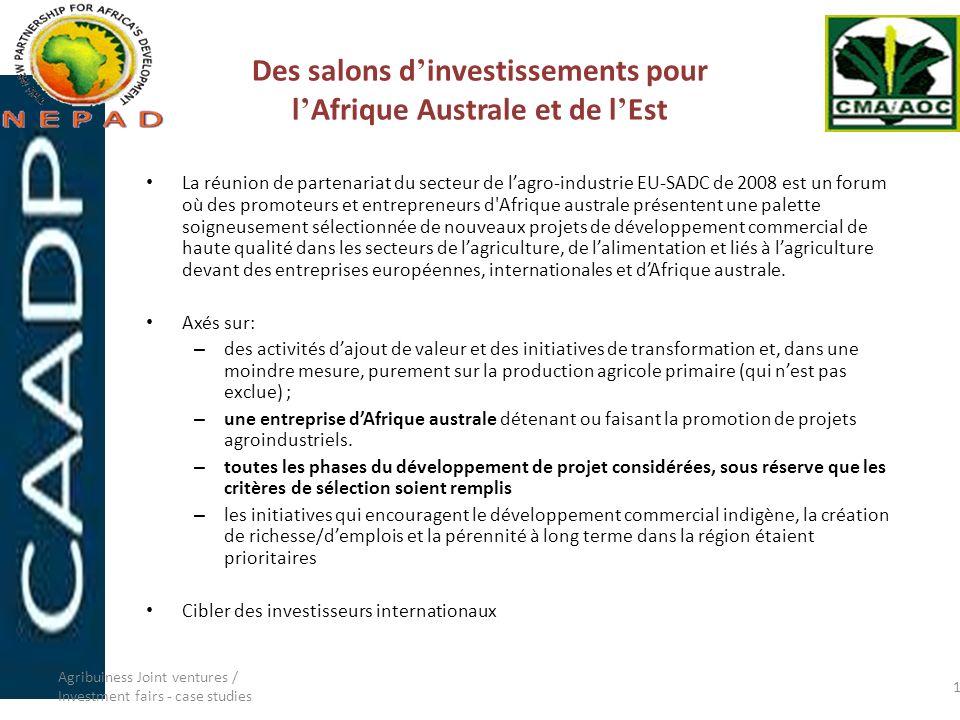 Des salons d'investissements pour l'Afrique Australe et de l'Est