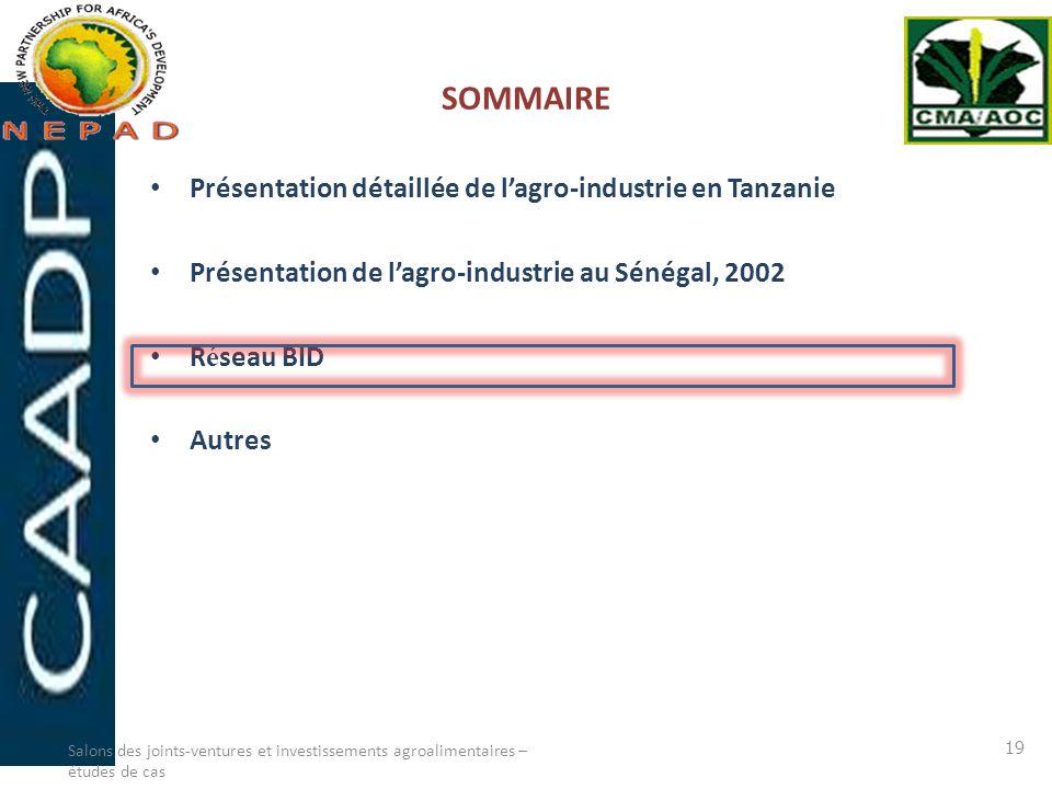 SOMMAIRE Présentation détaillée de l'agro-industrie en Tanzanie