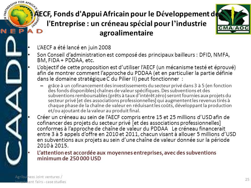 AECF, Fonds d Appui Africain pour le Développement de l Entreprise : un créneau spécial pour l'industrie agroalimentaire