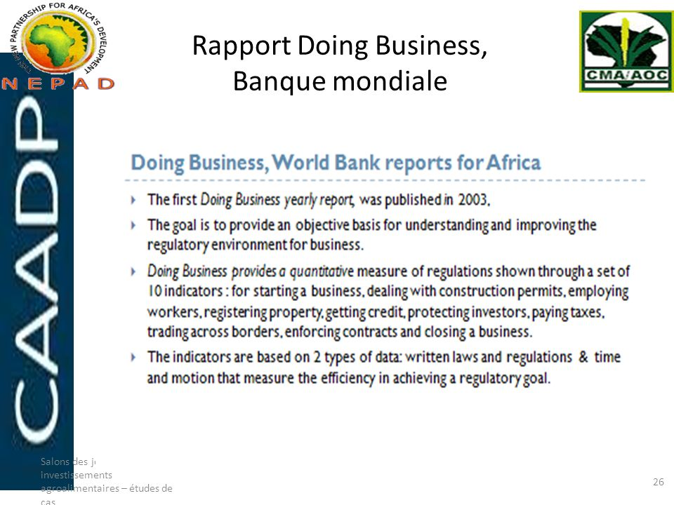 Rapport Doing Business, Banque mondiale