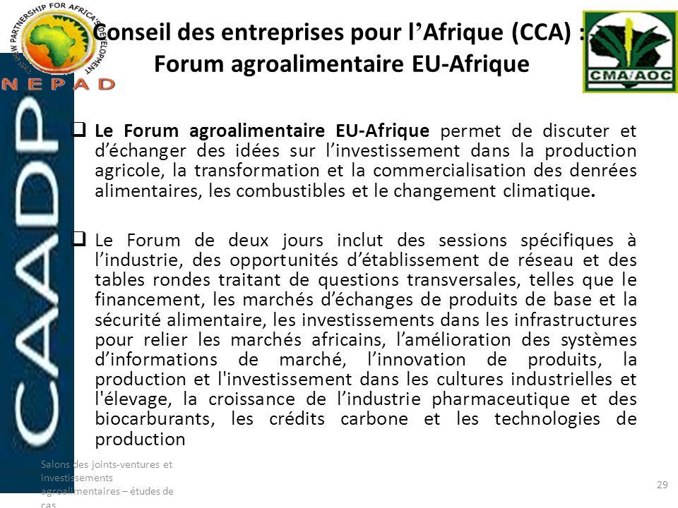 Conseil des entreprises pour l'Afrique (CCA) : Forum agroalimentaire EU-Afrique
