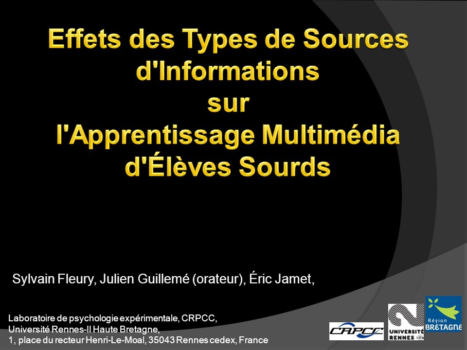 Sylvain Fleury, Julien Guillemé (orateur), Éric Jamet,