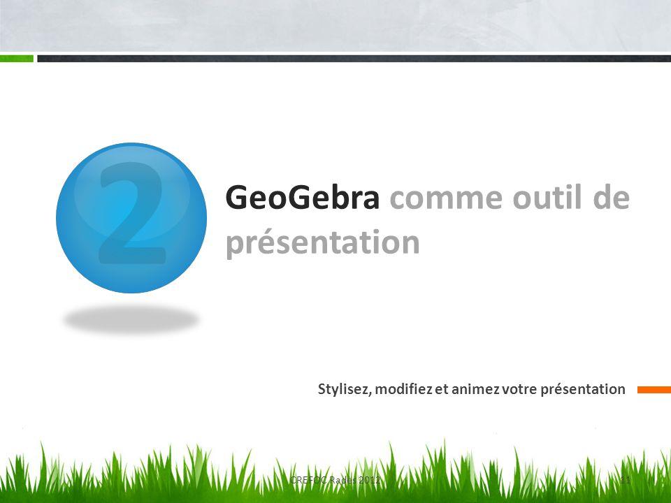 GeoGebra comme outil de présentation