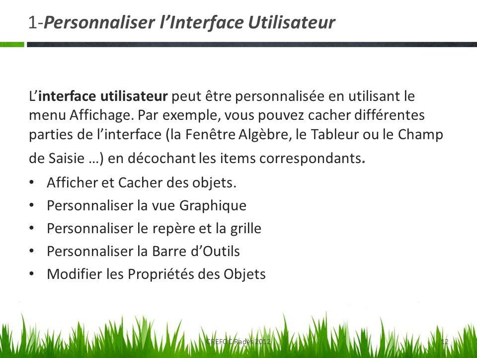 1-Personnaliser l'Interface Utilisateur