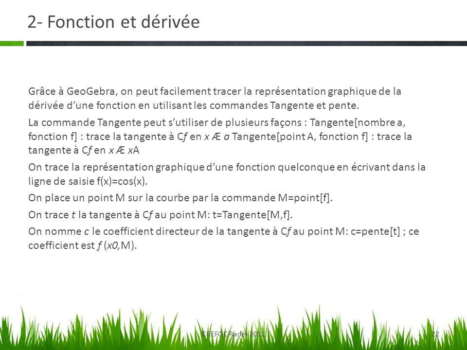 2- Fonction et dérivée