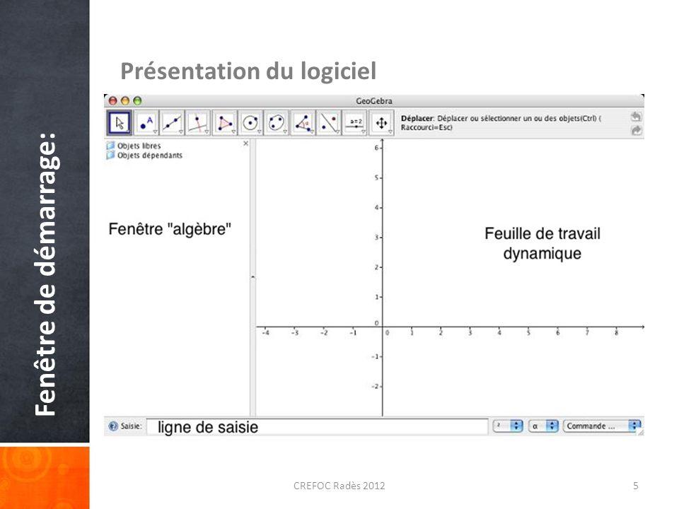 Fenêtre de démarrage: Présentation du logiciel CREFOC Radès 2012