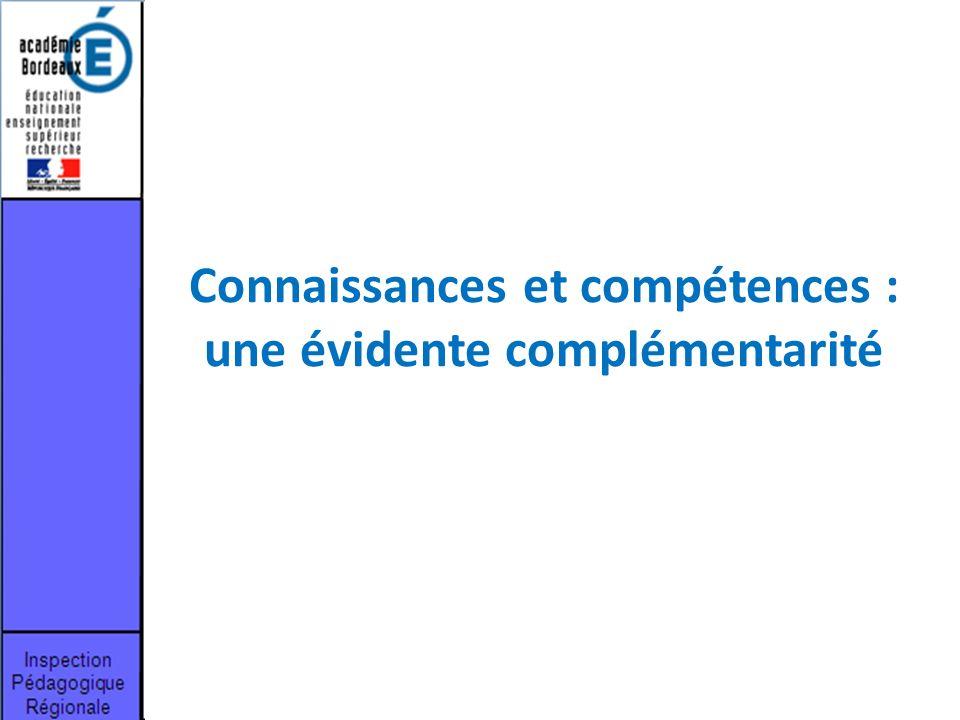 Connaissances et compétences : une évidente complémentarité