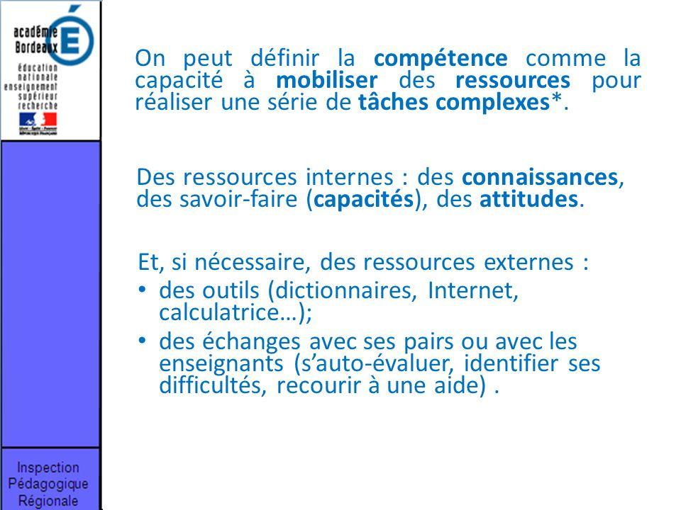 On peut définir la compétence comme la capacité à mobiliser des ressources pour réaliser une série de tâches complexes*.