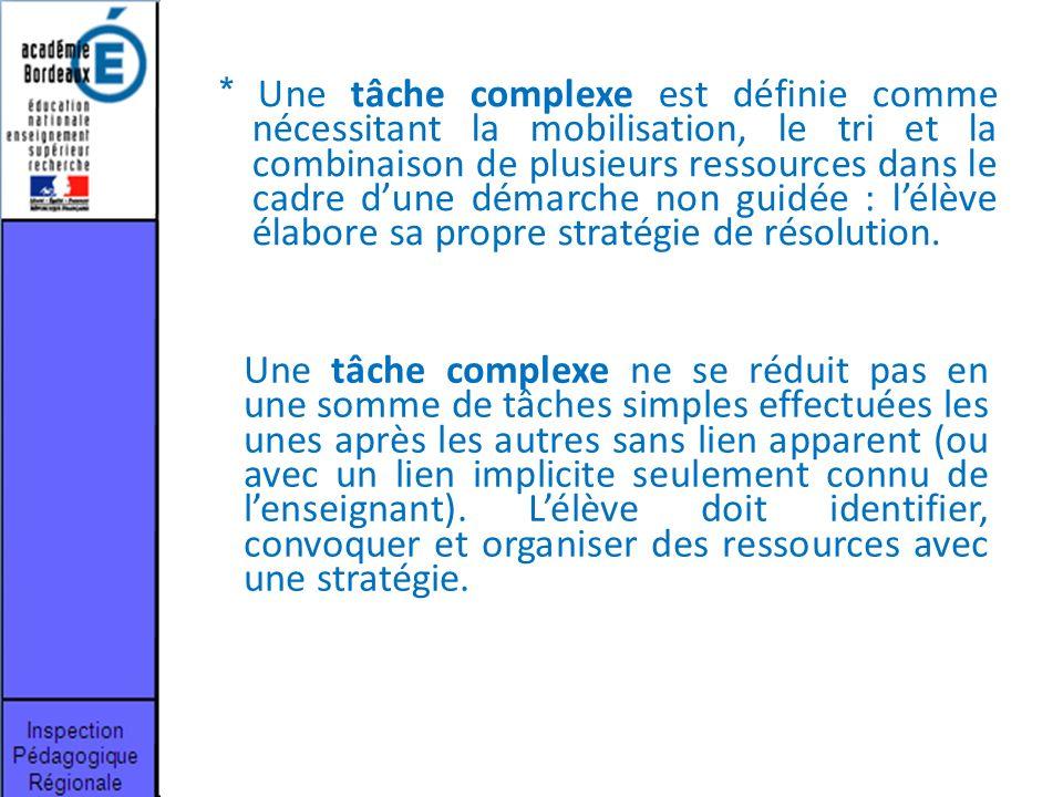 * Une tâche complexe est définie comme nécessitant la mobilisation, le tri et la combinaison de plusieurs ressources dans le cadre d'une démarche non guidée : l'élève élabore sa propre stratégie de résolution.